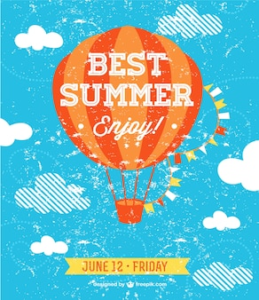 Best summer party invitation with a hot-air balloon