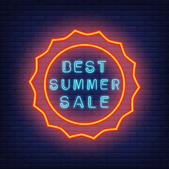 Best summer sale. illustration in neon style. Glowing blue text in round sun shaped red frame