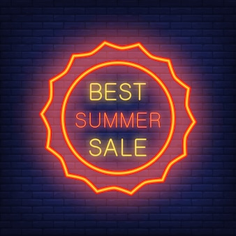 Best summer sale, illustration in neon style. glowing text in sun shaped red frame.