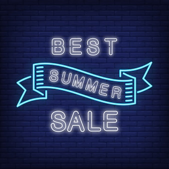 Best summer sale in blue neon style. Creative waving ribbon on dark blue brick wall. Night bright ad