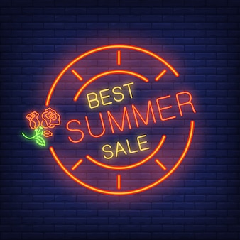 Best summer sale. lettering in neon style. glowing text in round frame