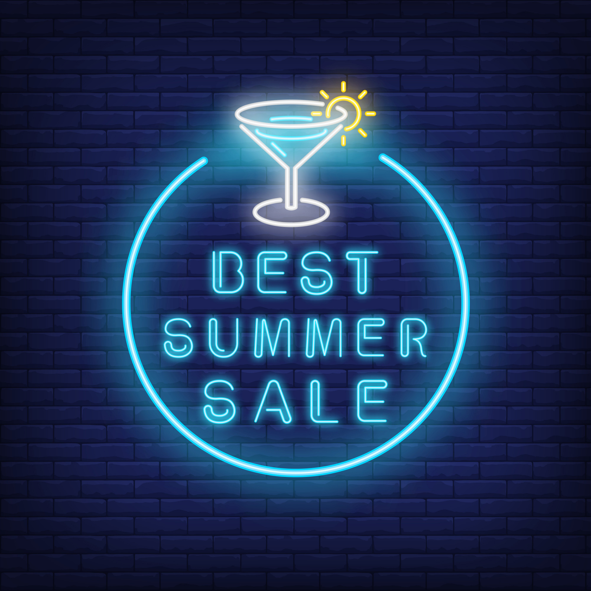 Best summer sale neon text and cocktail in circle. Seasonal offer or sale advertisement