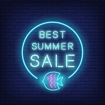 Best summer sale neon text and fish in circle. seasonal offer or sale advertisement