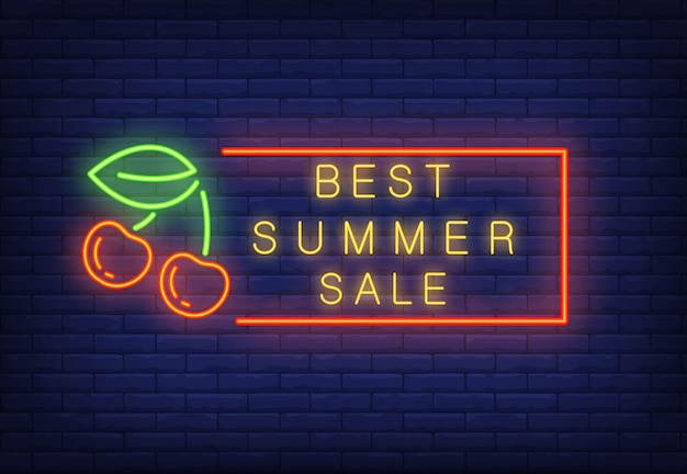 Best summer sale neon text in frame with cherries. seasonal offer or sale advertisement