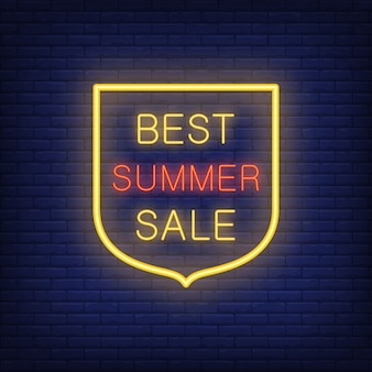 Best Summer Sale sign. illustration in neon style with glowing text in shield shape