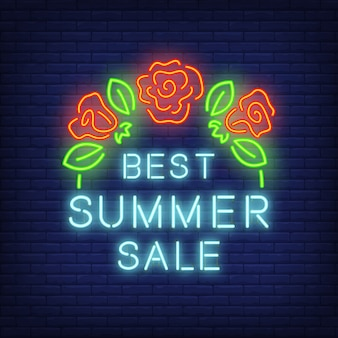 Best summer sale, sign in neon style. illustration with blue text and red roses with leaves.