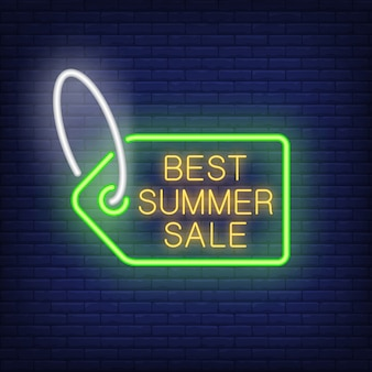 Best summer sale tag in neon style. bright sale tag with lettering inside. night bright advertisemen