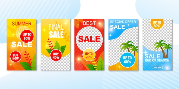 Best summer sales offers in advertising banner set.
