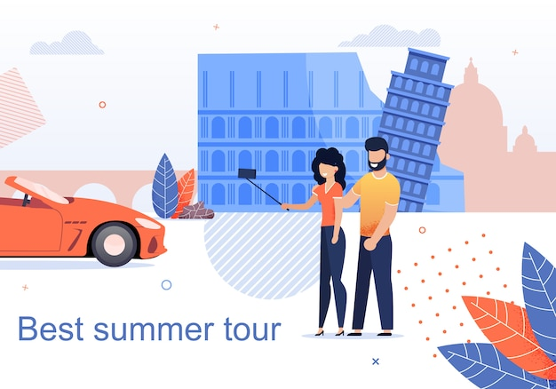 Best summer tour for couples flat cartoon banner
