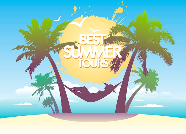 最高の夏のツアーのポスターデザイン