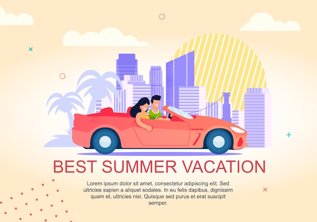 Best summer vacation lettering banner. man and woman
