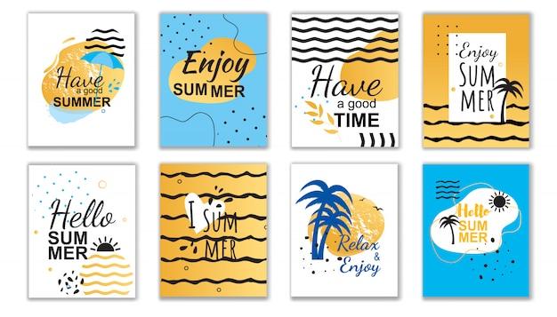 손으로 쓴 카드 세트에서 최고의 여름 소원과 인사