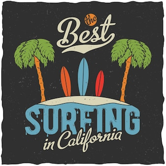 Best surfing in california poster with palms and beach illustration