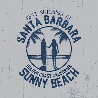 手のひらとサンタバーバラのイラストと最高のサーフィンポスター