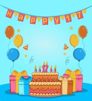 誕生日ケーキ、与える、バルーン、キャンドル、帽子、フラグ、星飾りフラットデザインで最高の甘い17