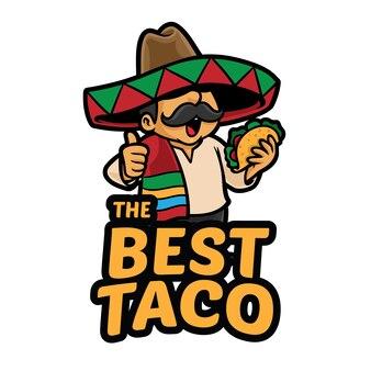 Лучший шаблон талисмана логотипа taco