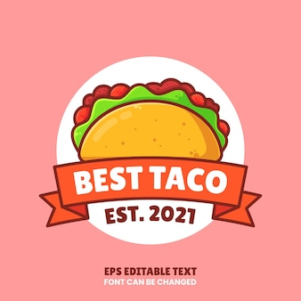 Лучший логотип taco vector premium fast food logo в плоском стиле для ресторана или кафе
