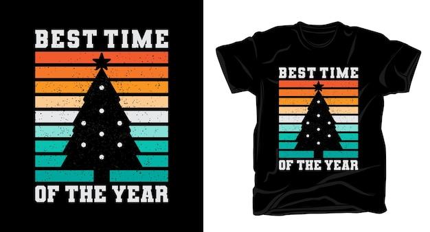 クリスマスツリーのtシャツのデザインで今年のベストタイムのタイポグラフィ