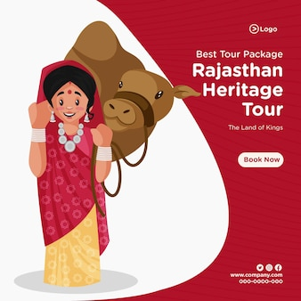Best tour package banner design template in cartoon style