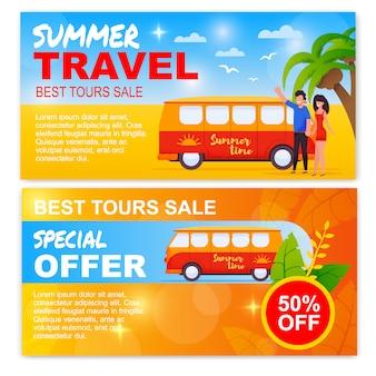 여름 여행 프로 모션 배너 설정된 벡터에 대 한 최고의 투어 판매