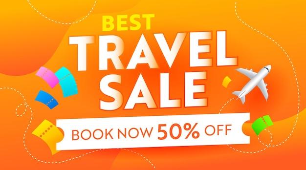 Лучший туристический рекламный баннер с самолетом и билетами на оранжевом фоне. летний сезон voyage off flyer, дизайн промо-шаблона в социальных сетях для скидки на поездку за покупками. векторные иллюстрации