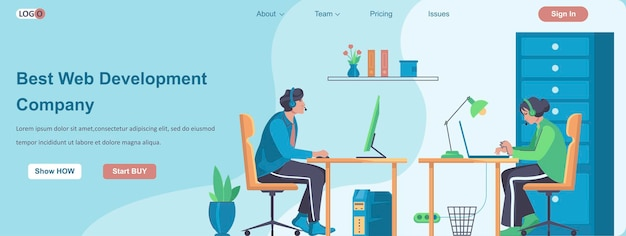 Best web development company banner concept Premium Vector