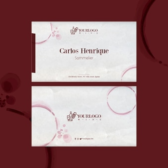 Best wine tasting event horizontal business card template