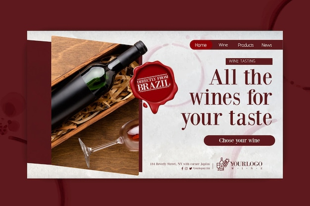Best wine tasting event landing page template