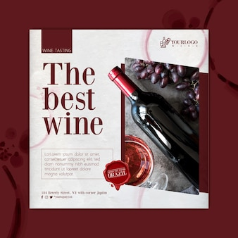 Best wine tasting event square flyer template
