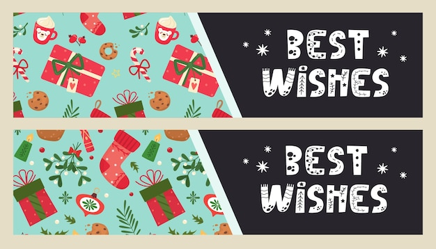 Best wishes congratulation phrase on flyer with christmas elements