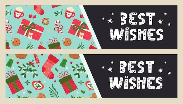 С наилучшими пожеланиями поздравительная фраза на флаере с элементами рождества