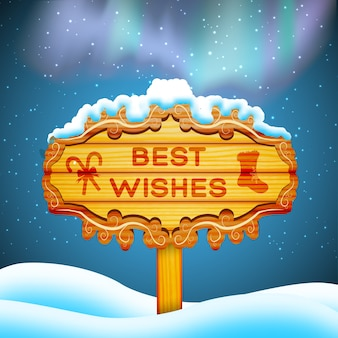 Best wishes wooden sign and santa claus flying in sky