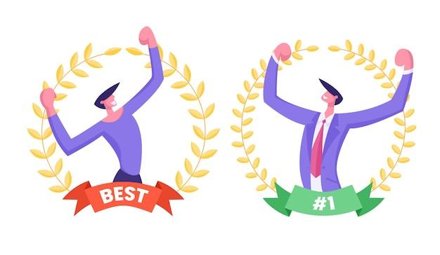 Лучший рабочий бизнес-концепция сотрудника с бизнесменами, демонстрирующими мускулы