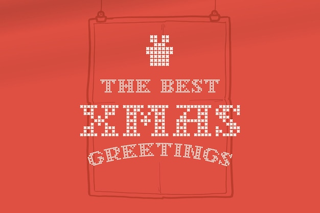 The best xmas greeting lettering is made of thick round knits flat style sign with a set of icons
