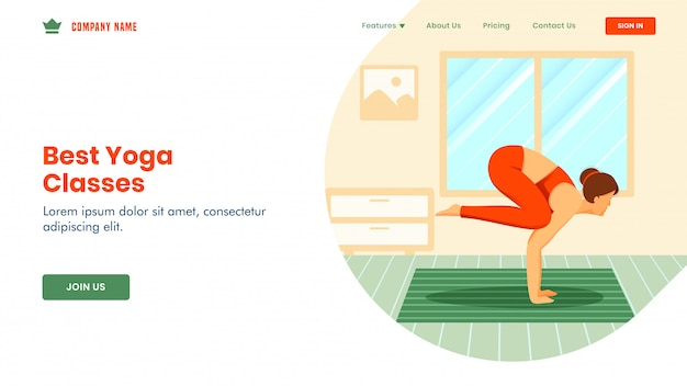 Best yoga classes landing page  with young woman doing exercise in bakasana pose inside of room.