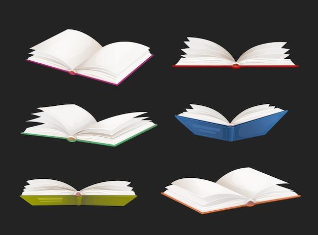 베스트셀러 책, 학교 교과서 벡터 세트. 만화 오픈 사전, 문학 소설, 동화 또는 다채로운 표지와 흰색 페이지가 있는 책의 구절. 검은 배경에 고립 된 개체