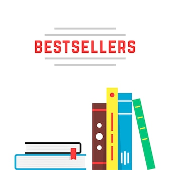 Значок бестселлера с книжной полкой. концепция бестселлера, библиография по хобби, брошюра, обучение, учебник, роман. плоский стиль тенденции современного бренда дизайн векторные иллюстрации на белом фоне