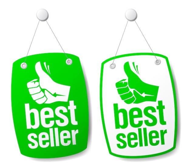 親指を立てて設定されたベストセラーの看板 Premiumベクター