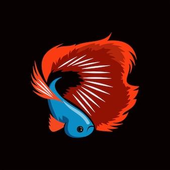 フラットカラーテンプレートのベータ魚ベクトル