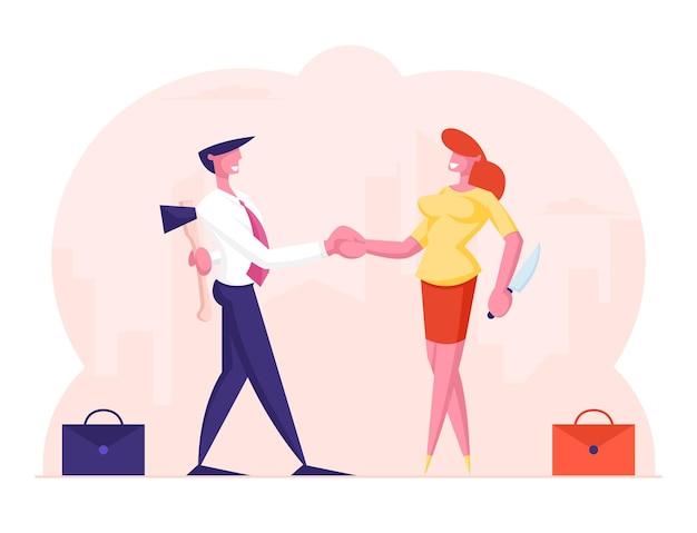 Концепция предательства. бизнесмен и деловая женщина, пожимая руки и улыбаясь друг другу