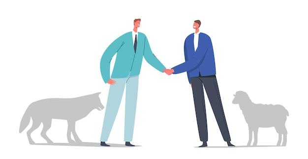 Предательство, обман, ложное соглашение или опасная концепция дружбы. встреча персонажей-бизнес-партнеров волка и овцы