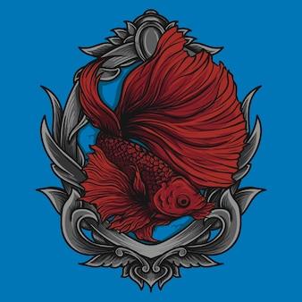 Betta 물고기 삽화 삽화