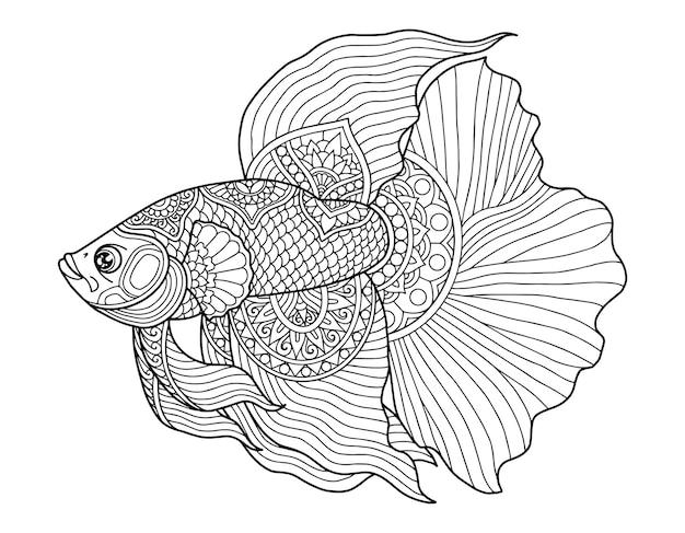 ベタ魚ぬりえページデザインクリア背景