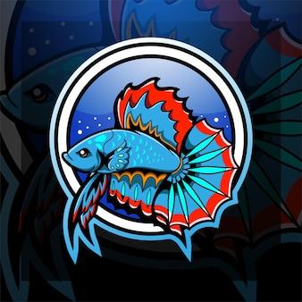 ベタの魚のeスポーツマスコットのロゴデザイン