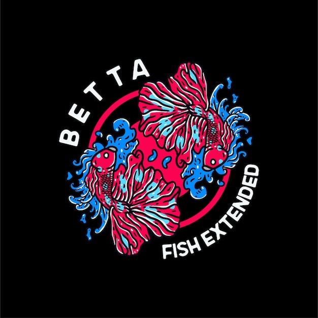 Бетта рыба иллюстрация винтаж для футболки