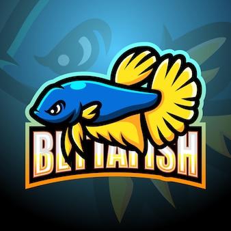 Бетта рыба талисман киберспорт иллюстрация