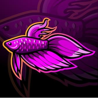 Betta fish mascot esport logo design