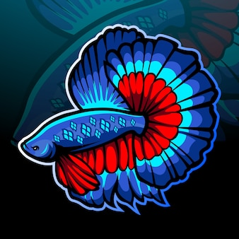 Betta fish mascot esport logo design