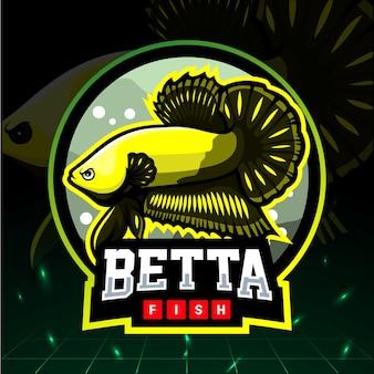 Betta 물고기 마스코트. esport 로고 디자인.