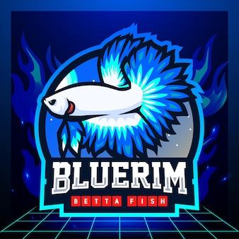 Бетта рыба талисман киберспорт дизайн логотипа